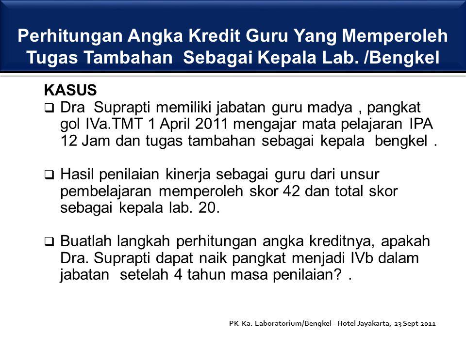 KASUS  Dra Suprapti memiliki jabatan guru madya, pangkat gol IVa.TMT 1 April 2011 mengajar mata pelajaran IPA 12 Jam dan tugas tambahan sebagai kepal