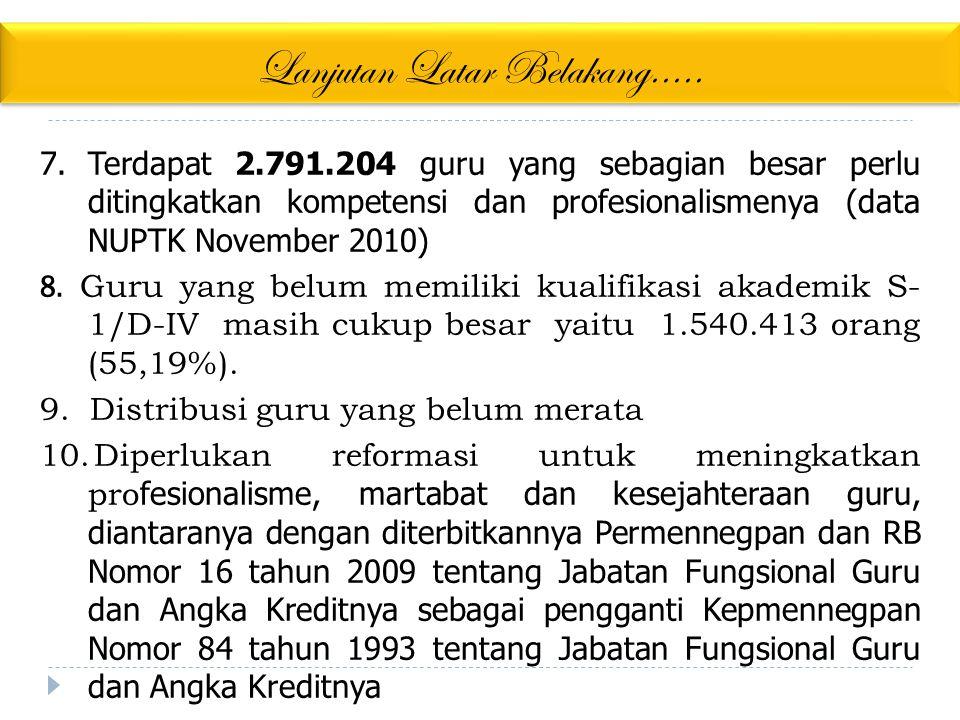 Lanjutan Latar Belakang..... 7.Terdapat 2.791.204 guru yang sebagian besar perlu ditingkatkan kompetensi dan profesionalismenya (data NUPTK November 2