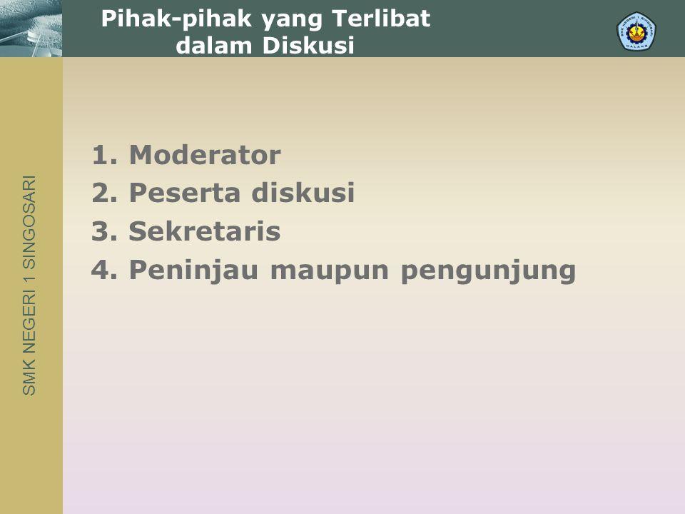 SMK NEGERI 1 SINGOSARI 1. Moderator 2. Peserta diskusi 3.