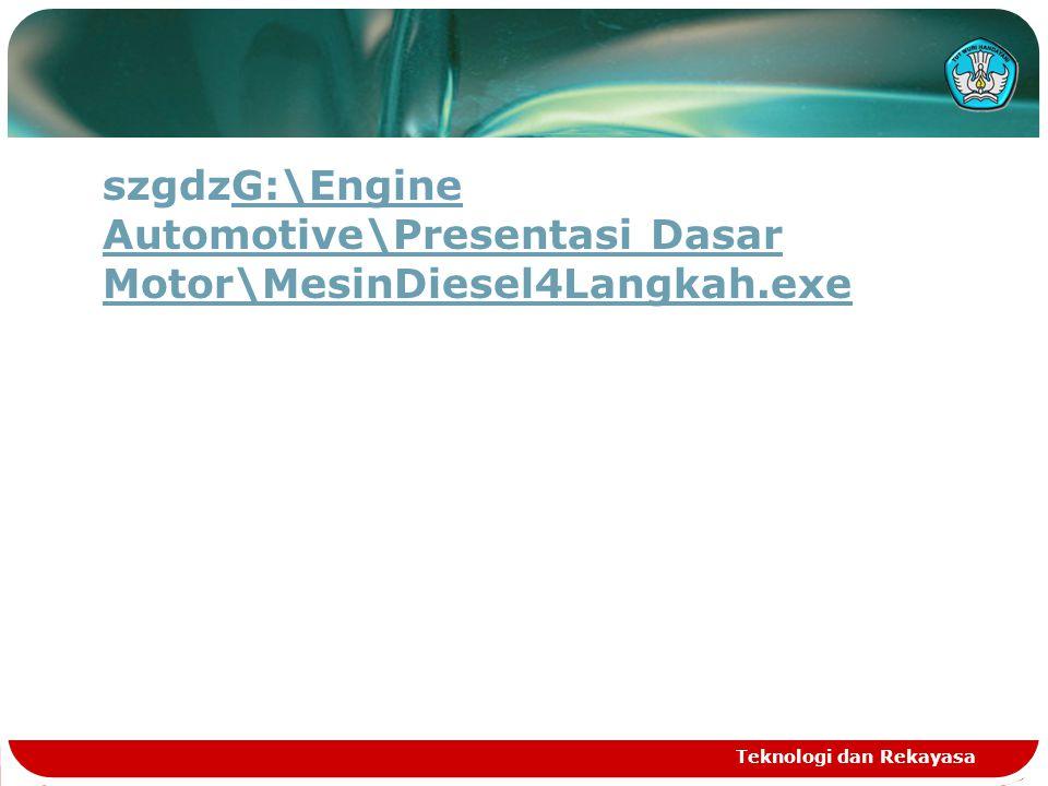 Teknologi dan Rekayasa SIKLUS KERJA  Intake stroke  Compression stroke  Power stroke  Exhaust stroke Siklus kerja engine empat langkah adalah: