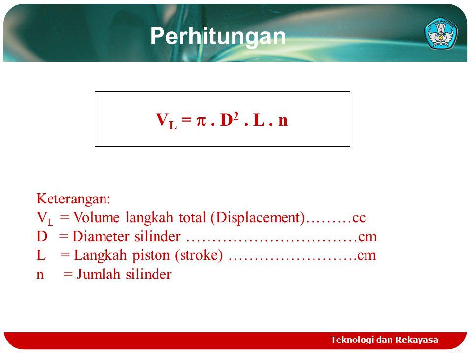 Teknologi dan Rekayasa Volume Langkah Total Volume langkah total besarnya sudah ditentukan (fix) dari manufacturer. Volume langkah adalah volume yang