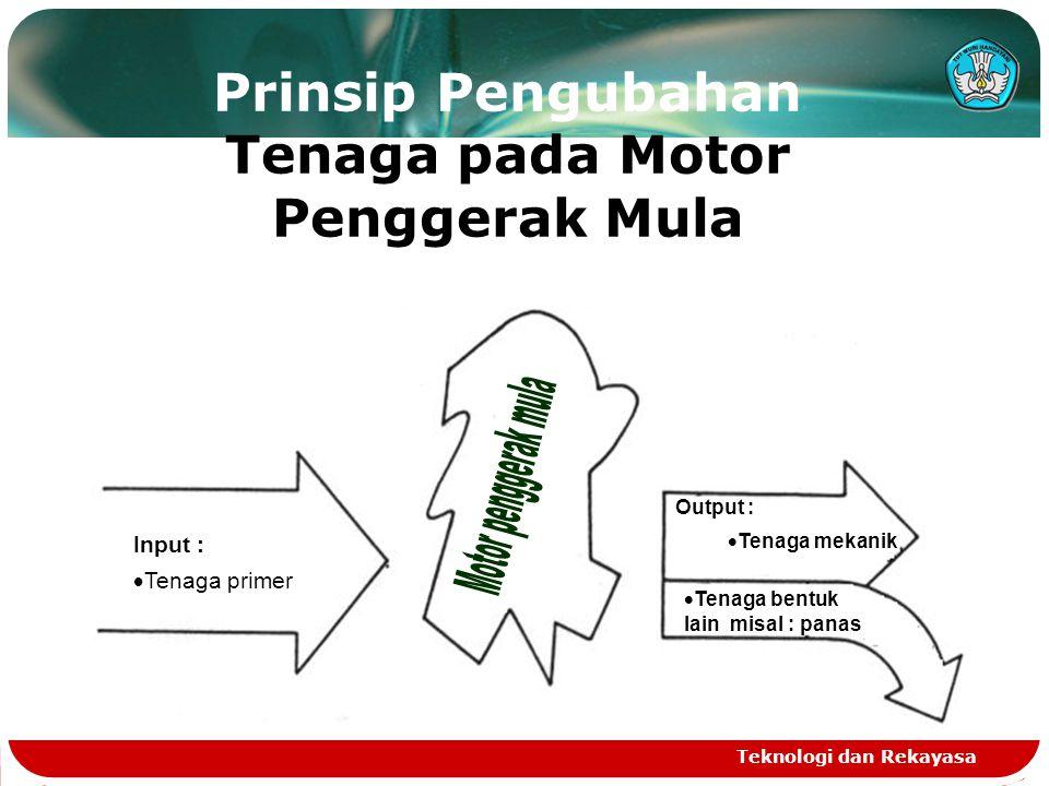 Teknologi dan Rekayasa Prinsip Pengubahan Tenaga pada Motor Penggerak Mula Input :  Tenaga primer  Tenaga bentuk lain misal : panas Output :  Tenaga mekanik