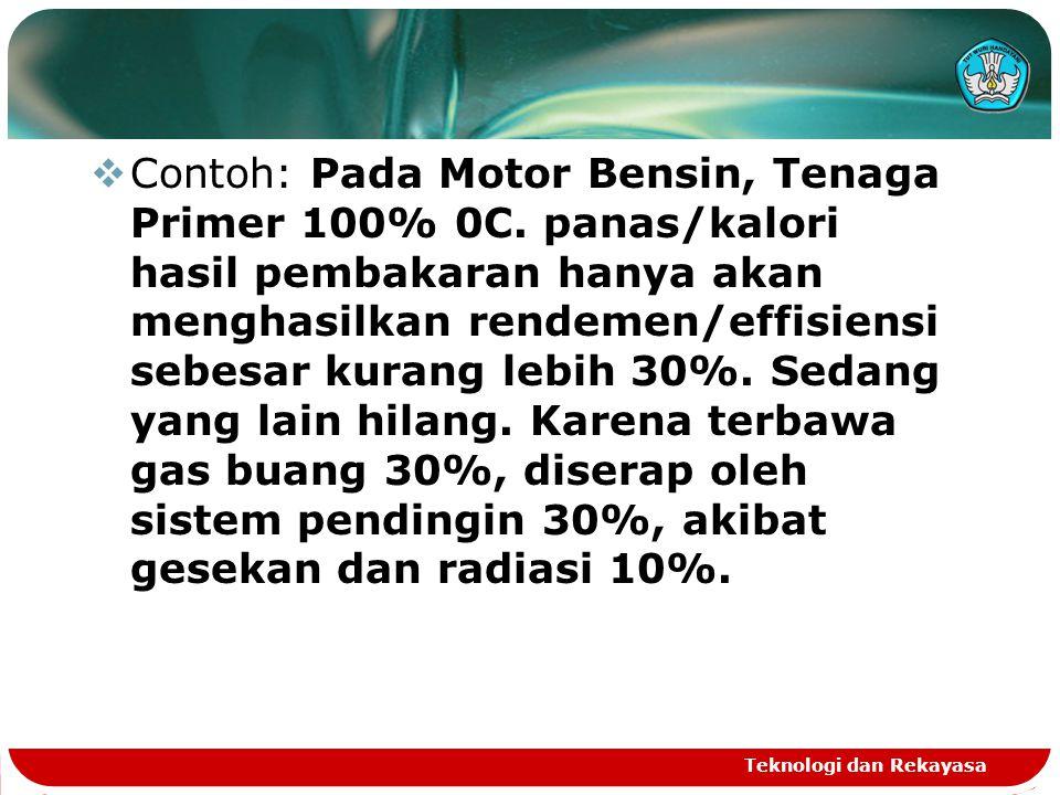 Teknologi dan Rekayasa  Contoh: Pada Motor Bensin, Tenaga Primer 100% 0C.