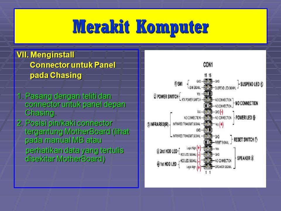 VII. Menginstall Connector untuk Panel Connector untuk Panel pada Chasing pada Chasing 1. Pasang dengan teliti dan connector untuk panel depan Chasing