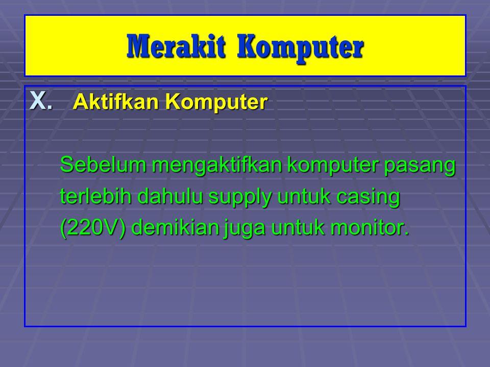 Merakit Komputer X. Aktifkan Komputer Sebelum mengaktifkan komputer pasang Sebelum mengaktifkan komputer pasang terlebih dahulu supply untuk casing te