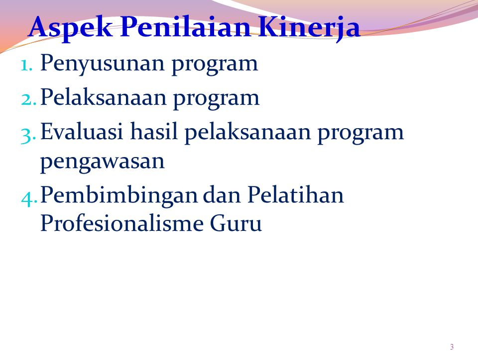 Aspek Penilaian Kinerja 1. Penyusunan program 2. Pelaksanaan program 3.