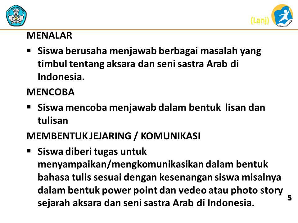 MENALAR  Siswa berusaha menjawab berbagai masalah yang timbul tentang aksara dan seni sastra Arab di Indonesia. MENCOBA  Siswa mencoba menjawab dala