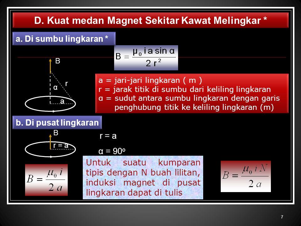 D. Kuat medan Magnet Sekitar Kawat Melingkar * a. Di sumbu lingkaran * a = jari-jari lingkaran ( m ) r = jarak titik di sumbu dari keliling lingkaran