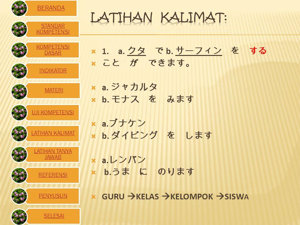  2.KB ( tempat) で kk( bentuk kamus) こと が できます。  Contoh kalimat:  クタ で サフィンー を す る こと が できる。