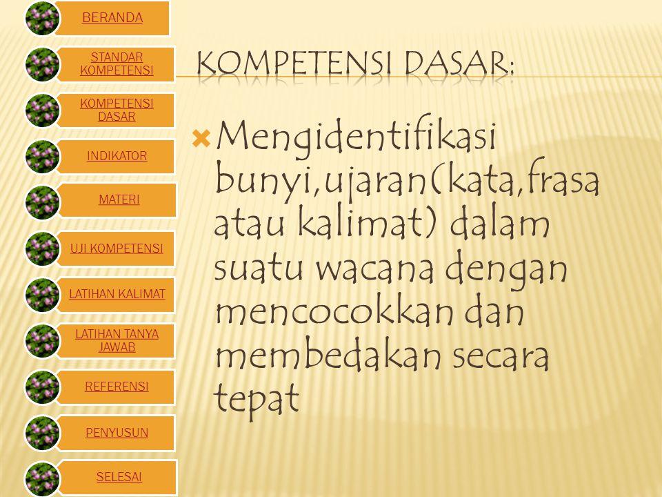  Mengidentifikasi bunyi,ujaran(kata,frasa atau kalimat) dalam suatu wacana dengan mencocokkan dan membedakan secara tepat