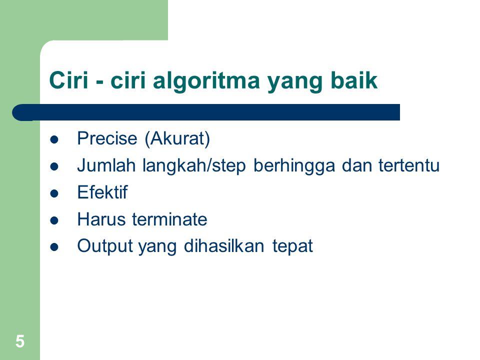 5 Ciri - ciri algoritma yang baik Precise (Akurat) Jumlah langkah/step berhingga dan tertentu Efektif Harus terminate Output yang dihasilkan tepat