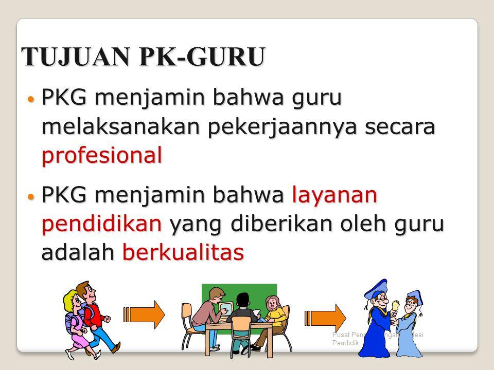 Pusat Pengembangan Profesi Pendidik TUJUAN PK-GURU PKG menjamin bahwa guru melaksanakan pekerjaannya secara profesional PKG menjamin bahwa guru melaks