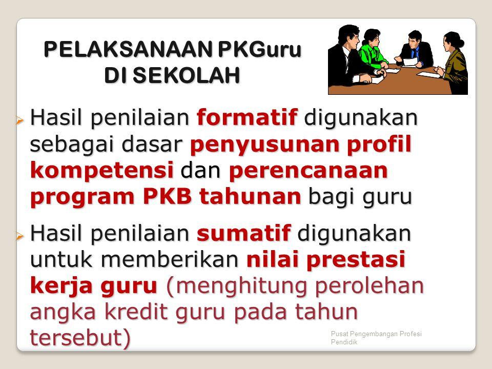 Pusat Pengembangan Profesi Pendidik  Hasil penilaian formatif digunakan sebagai dasar penyusunan profil kompetensi dan perencanaan program PKB tahuna