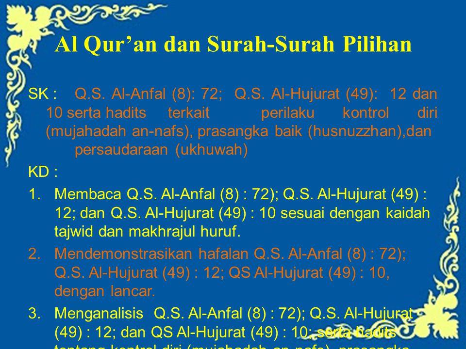 Al Qur'an dan Surah-Surah Pilihan SK :Q.S. Al-Anfal (8): 72; Q.S. Al-Hujurat (49): 12 dan 10 serta hadits terkait perilaku kontrol diri (mujahadah an-