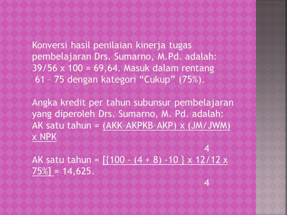 "Konversi hasil penilaian kinerja tugas pembelajaran Drs. Sumarno, M.Pd. adalah: 39/56 x 100 = 69,64. Masuk dalam rentang 61 – 75 dengan kategori ""Cuku"