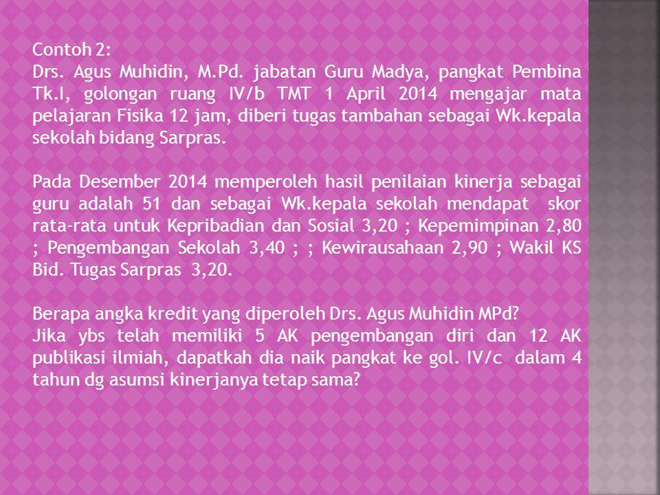 Contoh 2: Drs. Agus Muhidin, M.Pd. jabatan Guru Madya, pangkat Pembina Tk.I, golongan ruang IV/b TMT 1 April 2014 mengajar mata pelajaran Fisika 12 ja