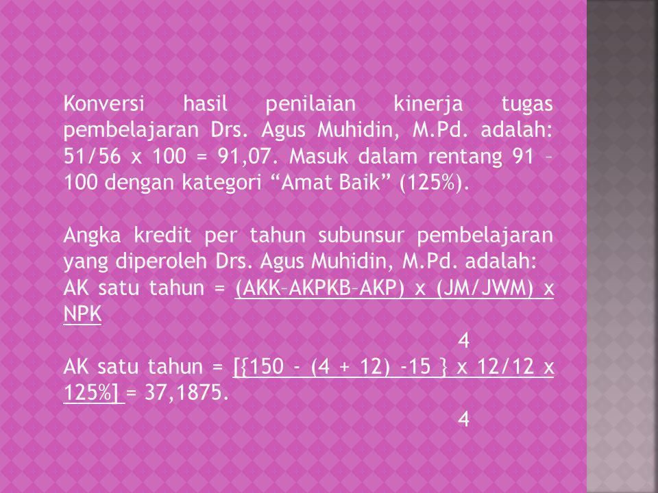Konversi hasil penilaian kinerja tugas pembelajaran Drs. Agus Muhidin, M.Pd. adalah: 51/56 x 100 = 91,07. Masuk dalam rentang 91 – 100 dengan kategori
