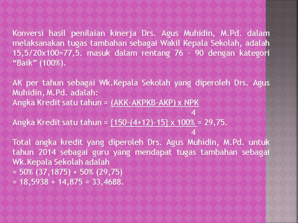 Konversi hasil penilaian kinerja Drs. Agus Muhidin, M.Pd. dalam melaksanakan tugas tambahan sebagai Wakil Kepala Sekolah, adalah 15,5/20x100=77,5. mas