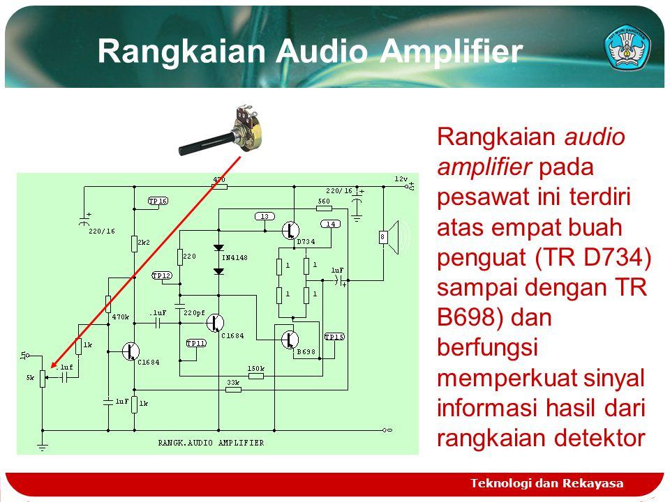 Rangkaian Audio Amplifier Teknologi dan Rekayasa Rangkaian audio amplifier pada pesawat ini terdiri atas empat buah penguat (TR D734) sampai dengan TR