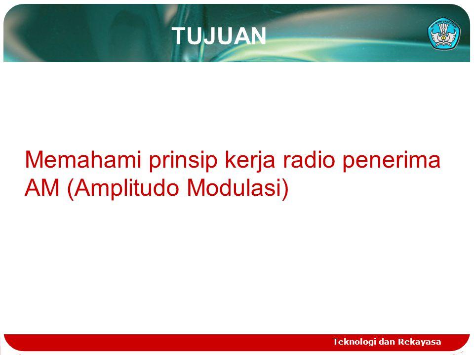TUJUAN Teknologi dan Rekayasa Memahami prinsip kerja radio penerima AM (Amplitudo Modulasi)