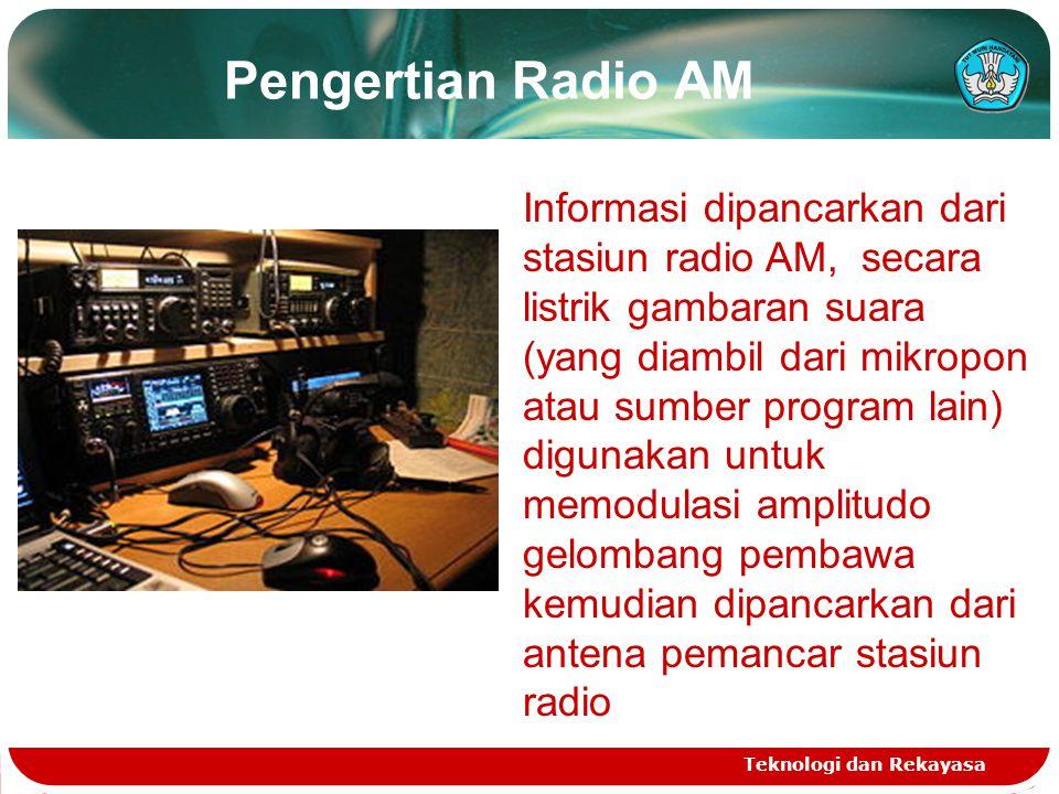 Pengertian Radio AM Teknologi dan Rekayasa Informasi dipancarkan dari stasiun radio AM, secara listrik gambaran suara (yang diambil dari mikropon atau