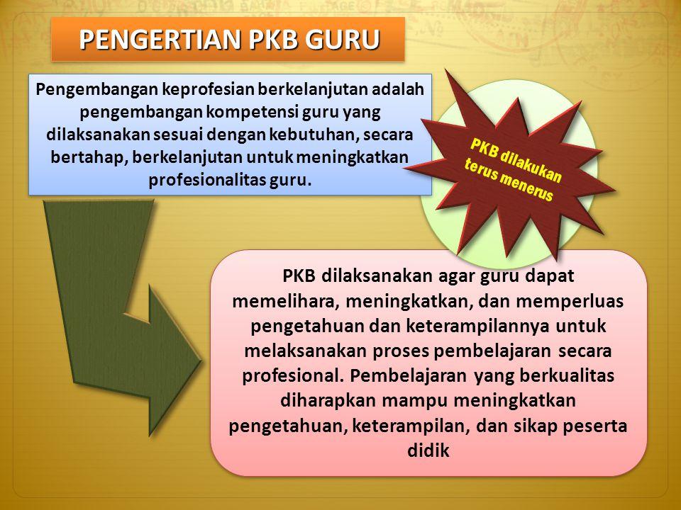PENGERTIAN PKB GURU PKB dilaksanakan agar guru dapat memelihara, meningkatkan, dan memperluas pengetahuan dan keterampilannya untuk melaksanakan prose