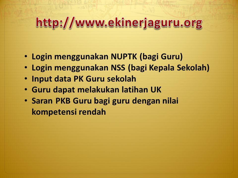 Login menggunakan NUPTK (bagi Guru) Login menggunakan NSS (bagi Kepala Sekolah) Input data PK Guru sekolah Guru dapat melakukan latihan UK Saran PKB G