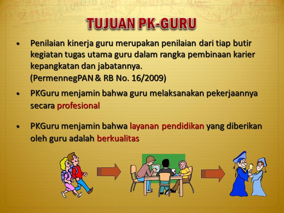 Penilaian kinerja guru merupakan penilaian dari tiap butir kegiatan tugas utama guru dalam rangka pembinaan karier kepangkatan dan jabatannya. Penilai