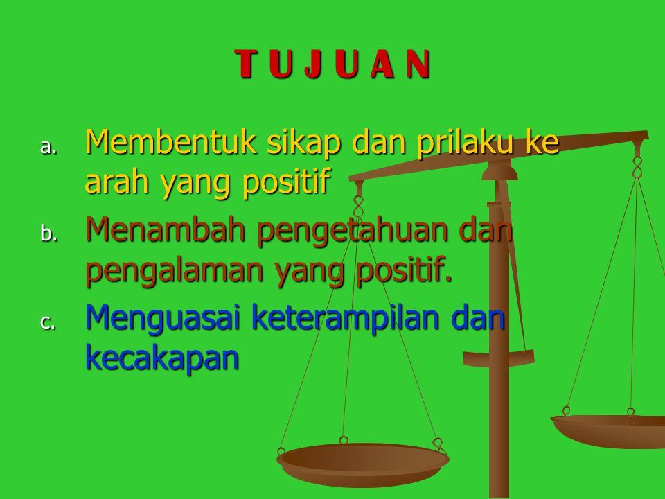 T U J U A N a.Membentuk sikap dan prilaku ke arah yang positif b.