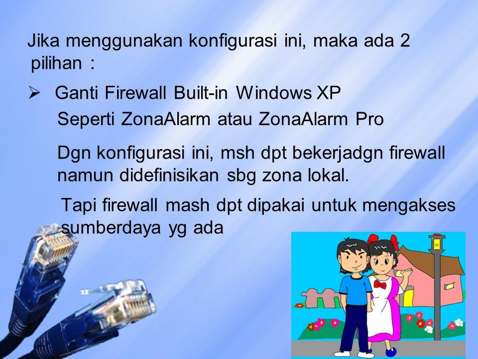 Jika menggunakan konfigurasi ini, maka ada 2 pilihan :  Ganti Firewall Built-in Windows XP Seperti ZonaAlarm atau ZonaAlarm Pro Dgn konfigurasi ini,