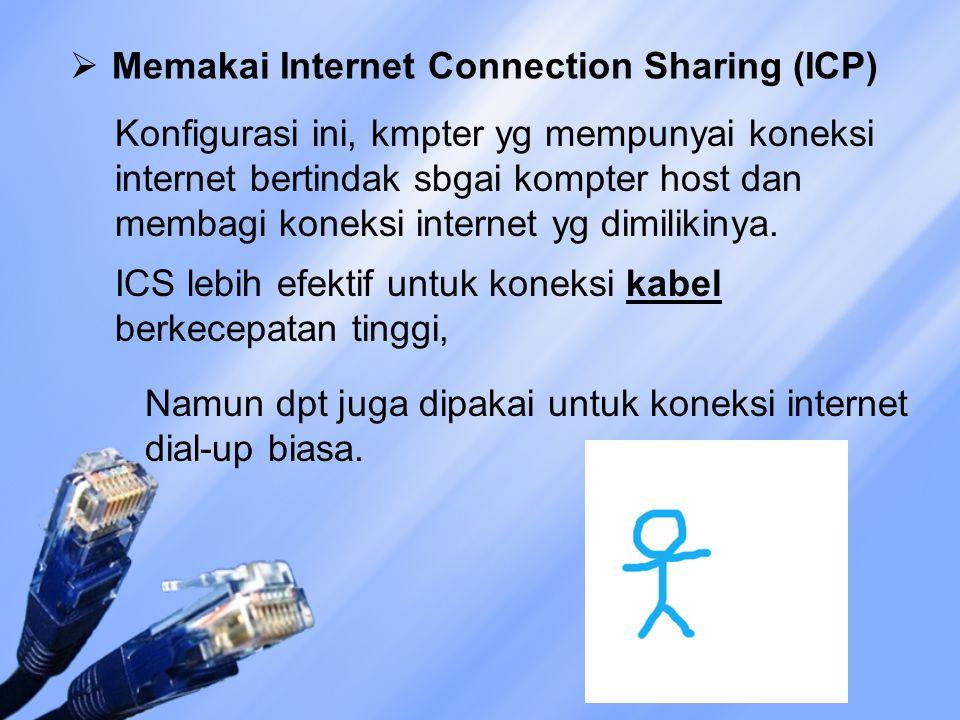  Memakai Internet Connection Sharing (ICP) Konfigurasi ini, kmpter yg mempunyai koneksi internet bertindak sbgai kompter host dan membagi koneksi internet yg dimilikinya.