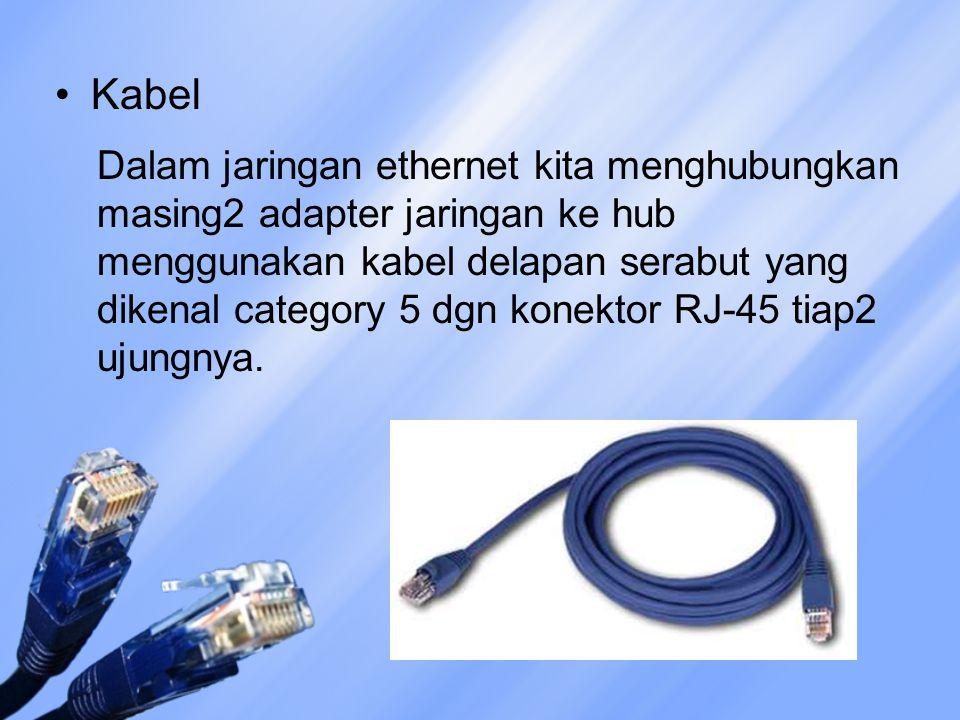 Kabel Dalam jaringan ethernet kita menghubungkan masing2 adapter jaringan ke hub menggunakan kabel delapan serabut yang dikenal category 5 dgn konektor RJ-45 tiap2 ujungnya.