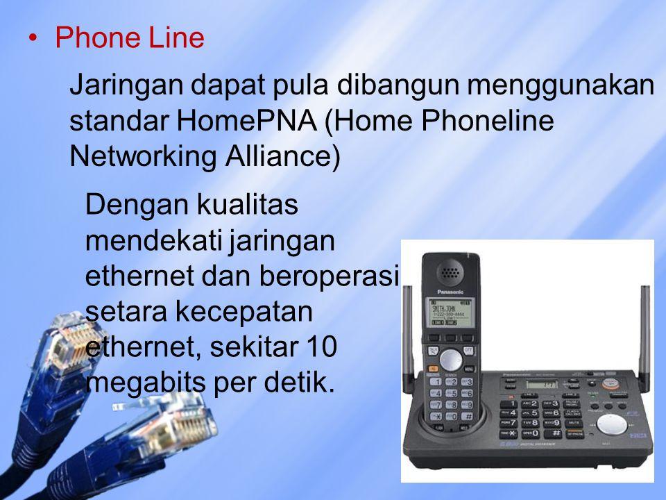 Phone Line Jaringan dapat pula dibangun menggunakan standar HomePNA (Home Phoneline Networking Alliance) Dengan kualitas mendekati jaringan ethernet d