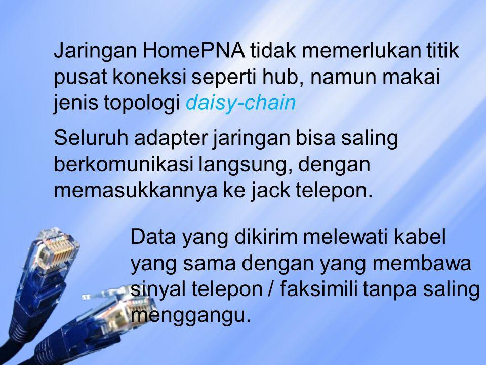 Jaringan HomePNA tidak memerlukan titik pusat koneksi seperti hub, namun makai jenis topologi daisy-chain Seluruh adapter jaringan bisa saling berkomunikasi langsung, dengan memasukkannya ke jack telepon.