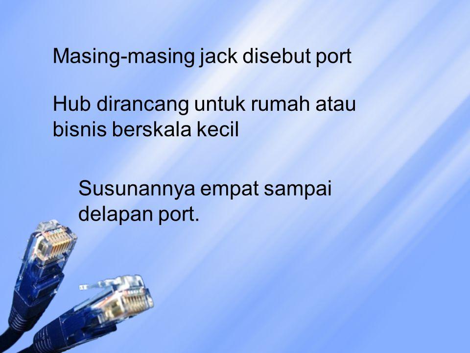 Masing-masing jack disebut port Hub dirancang untuk rumah atau bisnis berskala kecil Susunannya empat sampai delapan port.