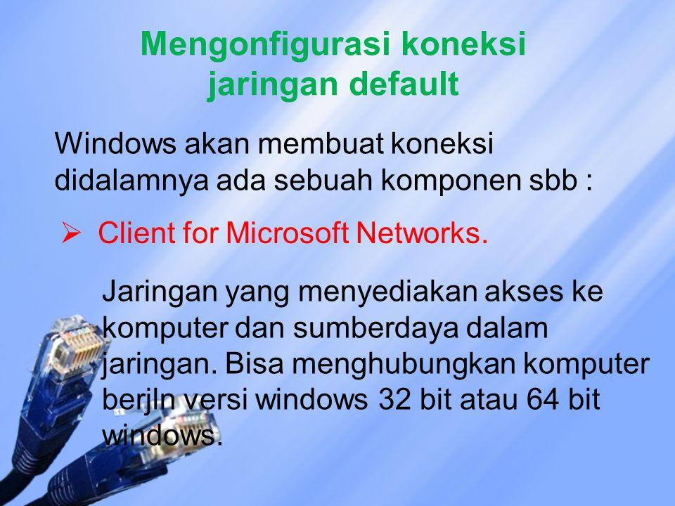 Mengonfigurasi koneksi jaringan default Windows akan membuat koneksi didalamnya ada sebuah komponen sbb :  Client for Microsoft Networks.