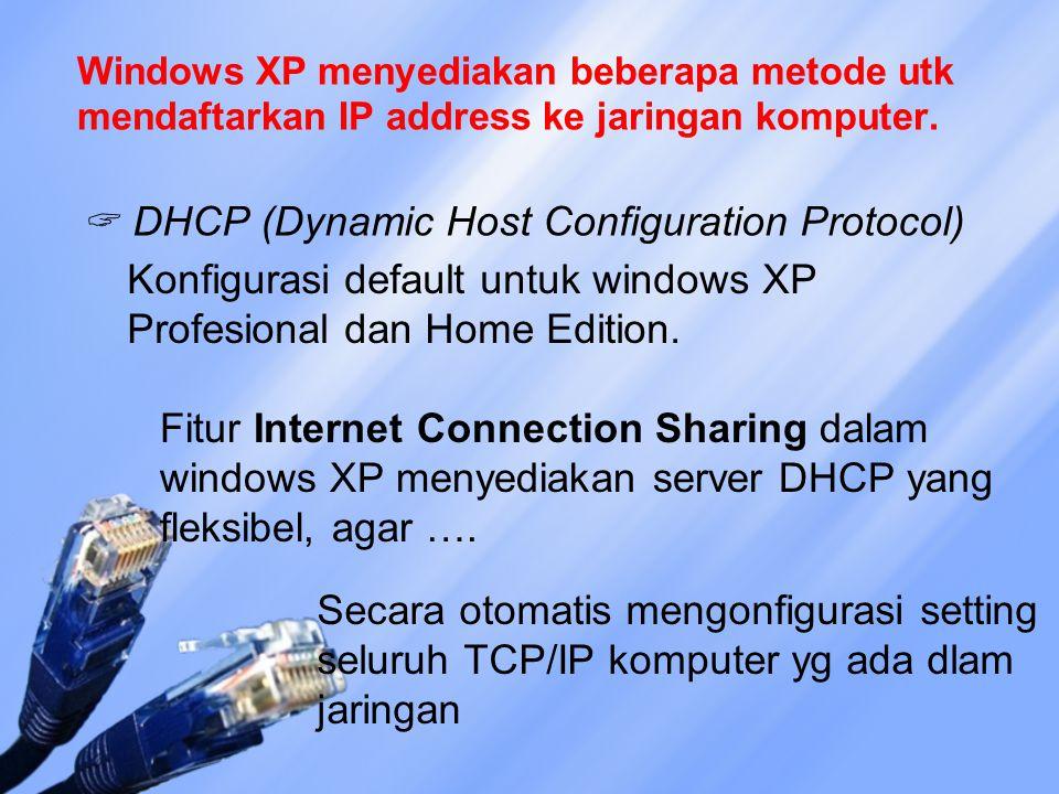 Windows XP menyediakan beberapa metode utk mendaftarkan IP address ke jaringan komputer.  DHCP (Dynamic Host Configuration Protocol) Konfigurasi defa