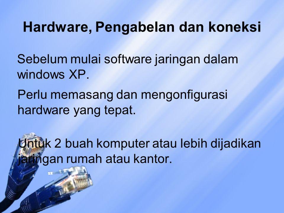 Hardware, Pengabelan dan koneksi Sebelum mulai software jaringan dalam windows XP. Perlu memasang dan mengonfigurasi hardware yang tepat. Untuk 2 buah