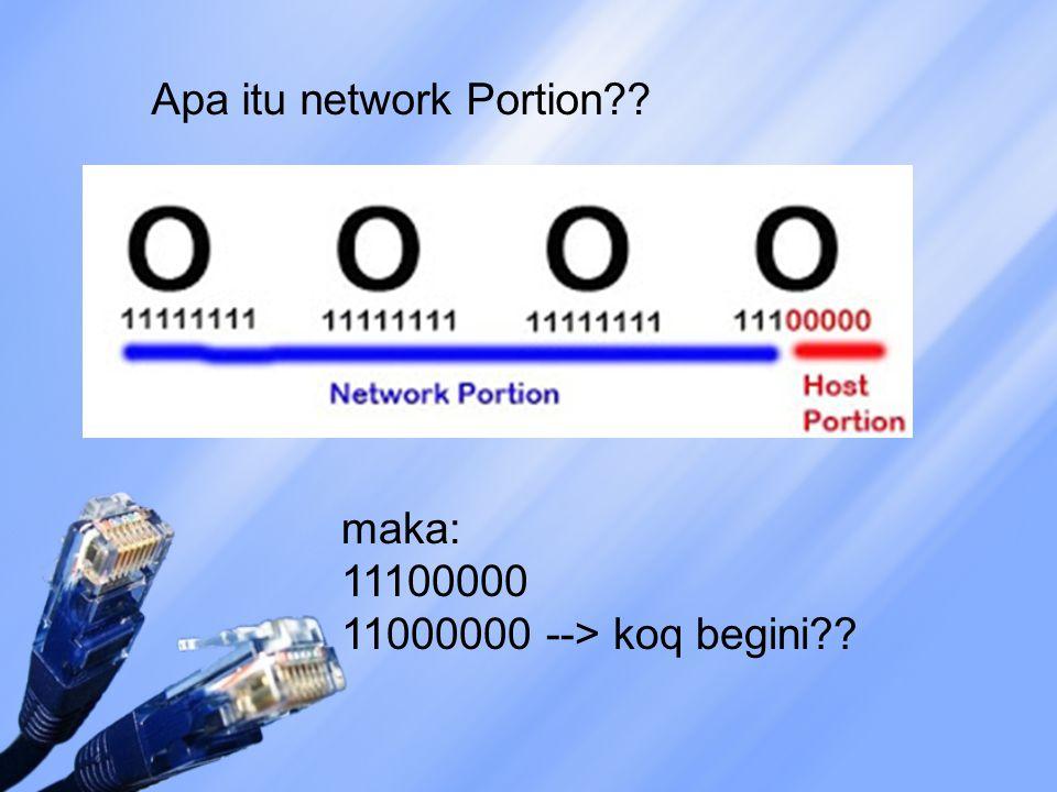 Apa itu network Portion?? maka: 11100000 11000000 --> koq begini??