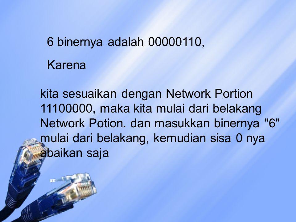 kita sesuaikan dengan Network Portion 11100000, maka kita mulai dari belakang Network Potion. dan masukkan binernya