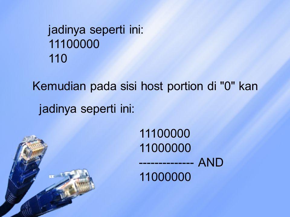 jadinya seperti ini: 11100000 110 Kemudian pada sisi host portion di 0 kan 11100000 11000000 -------------- AND 11000000 jadinya seperti ini: