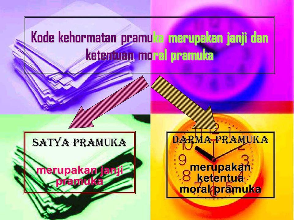 Kode kehormatan pramuka merupakan janji dan ketentuan moral pramuka DARMA PRAMUKA merupakan ketentua moral pramuka SATYA PRAMUKA merupakan janji pramuka