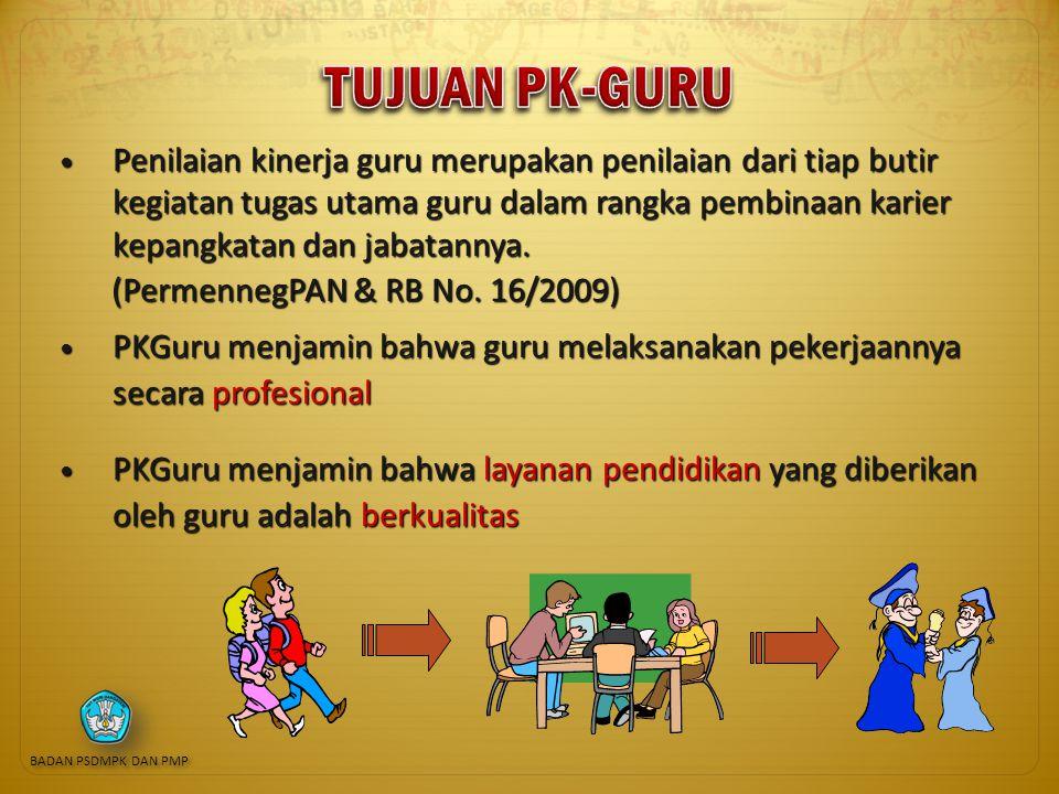 Penilaian kinerja guru merupakan penilaian dari tiap butir kegiatan tugas utama guru dalam rangka pembinaan karier kepangkatan dan jabatannya.
