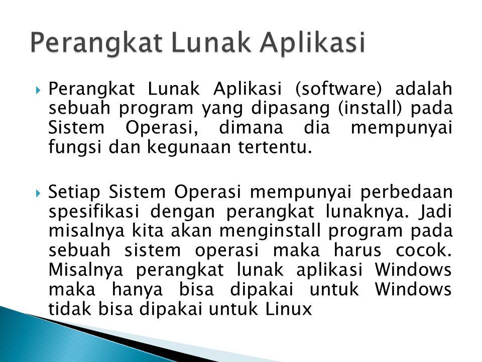  Perangkat Lunak Aplikasi (software) adalah sebuah program yang dipasang (install) pada Sistem Operasi, dimana dia mempunyai fungsi dan kegunaan tert
