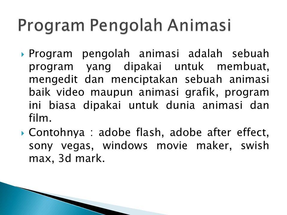  Program pengolah animasi adalah sebuah program yang dipakai untuk membuat, mengedit dan menciptakan sebuah animasi baik video maupun animasi grafik,