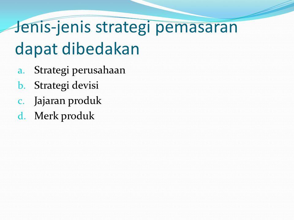 Penetapan strategis perusahaan Strategi penetrasi pasar Strategi pengembangan produk Strategi pengembangan pasar Strategi deverifikasi
