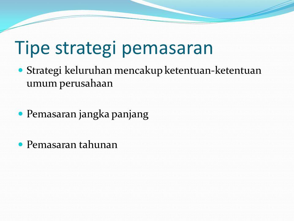 Jenis-jenis strategi pemasaran dapat dibedakan a.Strategi perusahaan b.