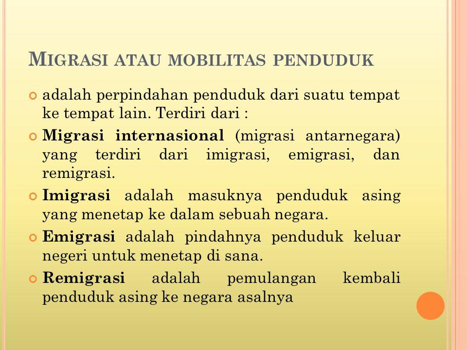 M IGRASI ATAU MOBILITAS PENDUDUK adalah perpindahan penduduk dari suatu tempat ke tempat lain.