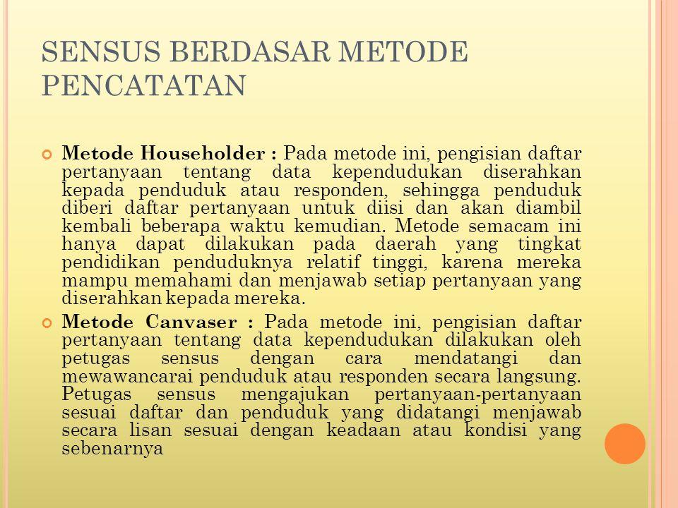 SENSUS BERDASAR TEMPAT TINGGAL Sensus De Facto : Pada metode ini, pencatatan dilakukan oleh petugas pada setiap orang yang ada di daerah tersebut pada saat sensus diadakan.