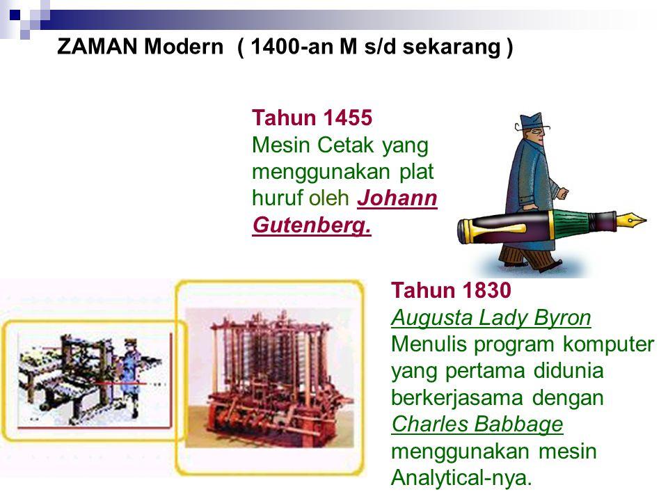 Tahun 1830 Augusta Lady Byron Menulis program komputer yang pertama didunia berkerjasama dengan Charles Babbage menggunakan mesin Analytical-nya. Tahu
